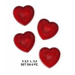 Set 6 applicazione cuore in plastica CM. 3.4x3.3