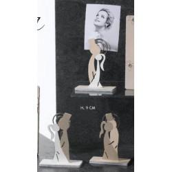 Coppia sposi stilizzati legno con memo clip. Ass 3. H 9