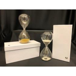 Clessidra vetro con graniglia oro o argento con scatola. H 13