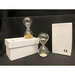 Clessidra vetro con graniglia oro o argento con scatola. H 8