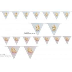 Set 18 bandierine stampate fronte/retro con disegno orsetto rosa o azzurro. MT 5.50