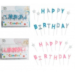 "Set 16 candeline glitter ""Happy Birthday"" rosa o azzurre"