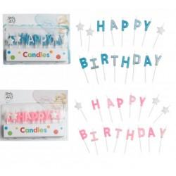 "Set 16 candeline glitter ""Happy Birthday"" rosa o azzurre"