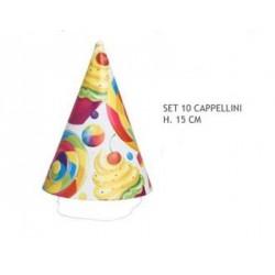 Set 10 cappellini cartoncino party. CM 15
