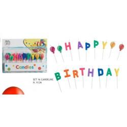 """Set 16 candeline multicolor """"Happy Birthday"""""""