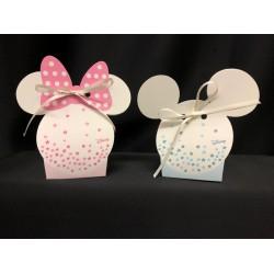 Scatola cartoncino Disney con stelline rosa o azzurre. CM 5.5x4 H 10