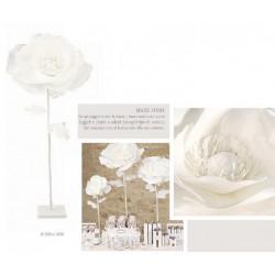 Rosa lattice con pistilli e perle interni con gambo. H 125 tot