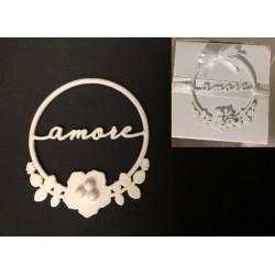 """Tondo metallo glitter con scritta """"Amore"""" e fiori. Diam. 4.5"""