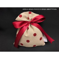 Sacchetto tessuto grezzo con pois bordeaux. CM 10x14 MADE IN ITALY