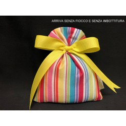 Sacchetto tessuto con stampa millerighe multicolor. CM 10x14 MADE IN ITALY