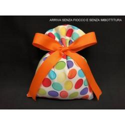 Sacchetto tessuto con stampa pois multicolor. CM 10x14 MADE IN ITALY