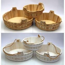 Set 3 tinozze in legno con manico corda. Diam. 38-32-26 H 14-13-12