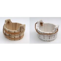 Tinozza legno con manico corda. Diam. 8.5 H 6