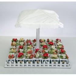 Set vassoio con ombrellone centrale e 34 scatole legno con applicazione fiori