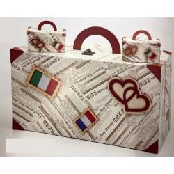 Set valigia con 36 mini valigie legno e cartoncino. CM 35x19 H 17