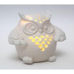 Gufo ceramica traforata con luce LED e scatola. CM 6.5x9.5 H 7.5
