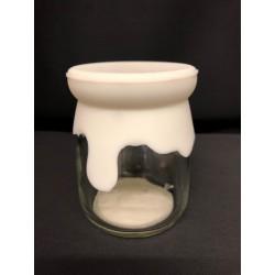 Barattolino vetro e silicone bianco. Diam. 5.5 H 7.5