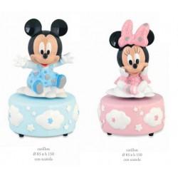 Carillon Disney con Minnie e Topolino, rosa o azzurro con scatola. Diam. 8.5 H 15