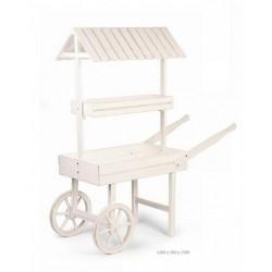 Carretto legno bianco con tettoia. CM 126x50 H 150
