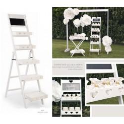 Display legno bianco 5 piani con lavagnetta. CM 64x42.5 H 165