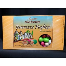 Confetti mix mandorle pugliesi e nocciole con cioccolato bianco e fondente, colori misti. KG 1