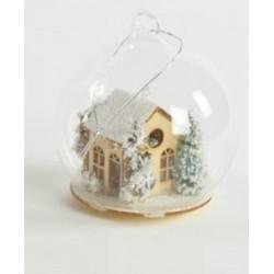 Appendino sfera vetro con casetta in legno con luci. Diam 8