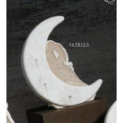 Luna in resina con sposi e dettagli strass, scatolina pvc interna porta confetti e scatola. CM 15x13 MADE IN ITALY