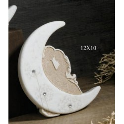 Luna in resina con sposi e dettagli strass, scatolina pvc porta confetti interna e scatola. CM 12x10 MADE IN ITALY