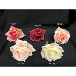 Rosa stoffa artificiale con gambo. Diam. 9