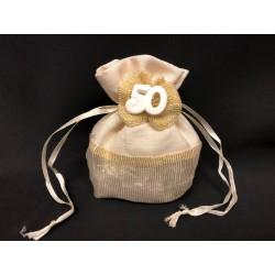 Sacchetto con base tonda per 50° anniversario con applicazione gesso. H 11