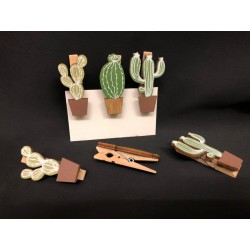 Set 6 mollette legno con cactus. Ass 3. CM 4