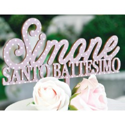 Cake topper in legno di betulla colorata. 3 MM
