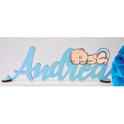 Scritta in legno colorato personalizzato con bimbo. Colore e scritta a scelta. Lunghezza MAX 40 CM H 14