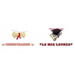 """Festone cartoncino scritta """"Congratulazioni"""" o """"La mia laurea"""". MT 6"""