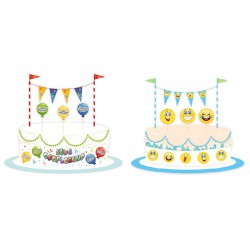 Set decorazione torta in cartoncino: girotorta, 3 picks, decorazione con festoni.