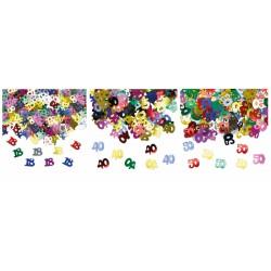 Set 15 GR coriandoli forma numeri in plastica decorativi.