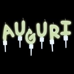 "Set candeline fluorescenti scritta ""Auguri"". CM 5"