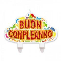"""Candelina sagomata scritta """"Buon compleanno"""". CM 13x8"""