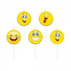 Set 5 candeline forma emoticon. CM 8