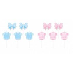 Set 5 candeline soggetti baby, rosa o azzurri. CM 8