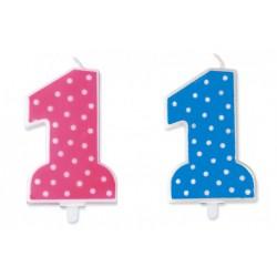 Candelina numero 1, rosa o azzurra a pois. CM 11