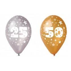 Set 100 palloncini oro o argento in lattice con decoro anniversari, adatti per gonfiaggio ad elio o ad aria. CM 30
