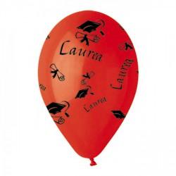 """Set 10 palloncini rossi in lattice con decoro """"Laurea"""", adatti per gonfiaggio ad elio o ad aria. CM 30"""