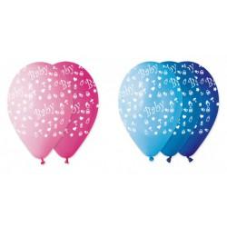 Set 100 palloncini rosa o azzurri sfumati in lattice con decoro baby, adatti per gonfiaggio ad elio o ad aria. Ass 3 per colore.