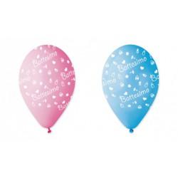 Set 100 palloncini rosa o azzurri in lattice con decoro battesimo, adatti per gonfiaggio ad elio o ad aria. CM 30
