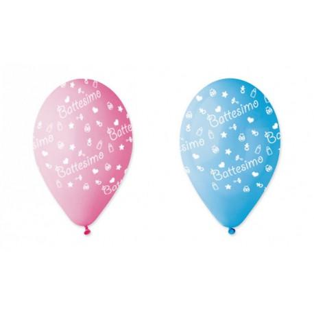 Set 100 palloncini rosa o azzurri sfumati in lattice con decoro battesimo, adatti per gonfiaggio ad elio o ad aria. CM 30