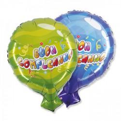 """Palloncino mylar """"Buon compleanno"""", idoneo per gonfiaggio ad elio. CM 50x61"""