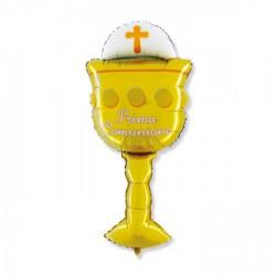 Palloncino mylar calice comunione, idoneo per gonfiaggio ad elio. CM 51x119