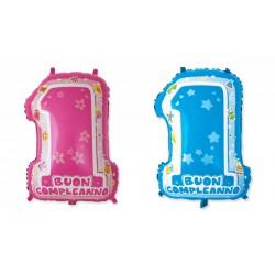 Palloncino mylar primo compleanno, rosa o azzurro, idoneo per gonfiaggio ad elio. CM 45x62