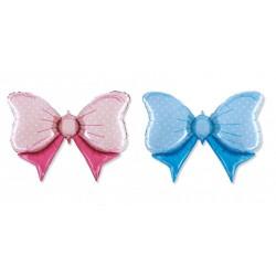 Palloncino mylar forma fiocco, rosa o azzurro, idoneo per gonfiaggio ad elio. CM 108x72